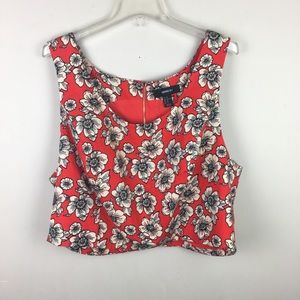 Forever 21 + red floral crop Top blouse